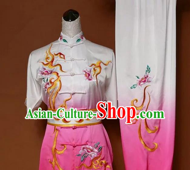 Asian Chinese Top Grade Silk Kung Fu Costume Martial Arts Tai Chi Training Gradient Pink Uniform, China Embroidery Peony Gongfu Shaolin Wushu Clothing for Women