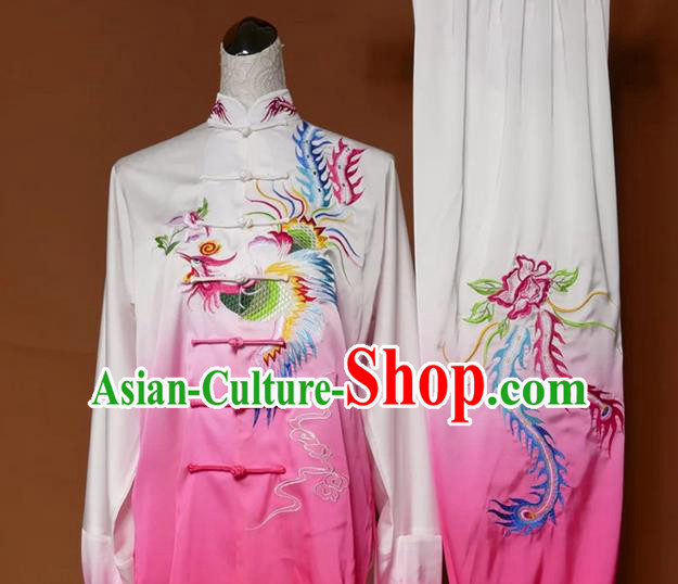 Asian Chinese Top Grade Silk Kung Fu Costume Martial Arts Tai Chi Training Gradient Pink Uniform, China Embroidery Phoenix Gongfu Shaolin Wushu Clothing for Women