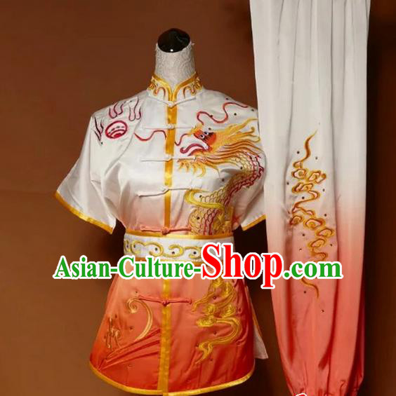 Asian Chinese Top Grade Silk Kung Fu Costume Martial Arts Tai Chi Training Suit, China Gongfu Shaolin Wushu Embroidery Dragon Gradient Orange Uniform for Men