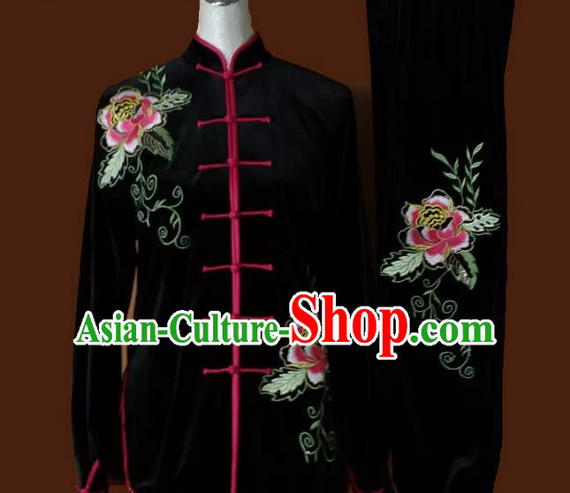 Asian Chinese Top Grade Velvet Kung Fu Costume Martial Arts Tai Chi Training Suit, China Gongfu Shaolin Wushu Embroidery Peony Flower Black Uniform for Women
