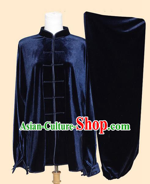 Asian Chinese Top Grade Velvet Kung Fu Costume Martial Arts Tai Chi Training Suit, China Gongfu Shaolin Wushu Royalblue Uniform for Men
