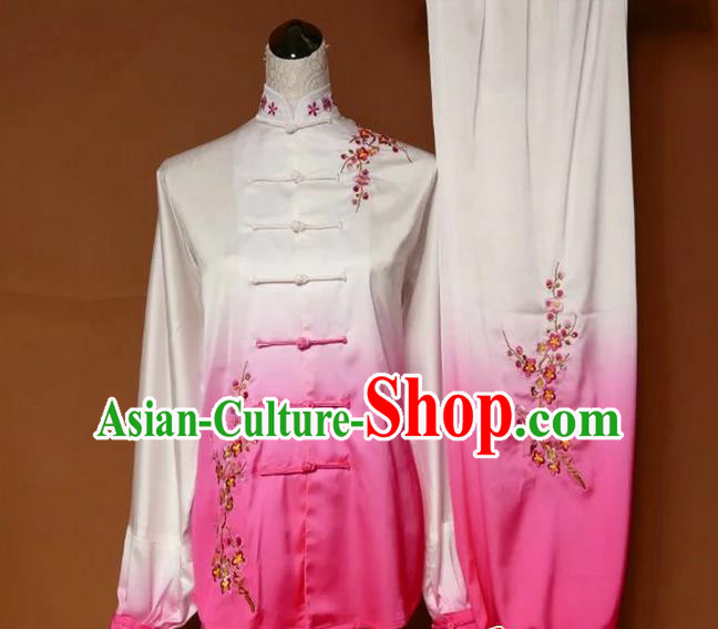 Asian Chinese Top Grade Linen Kung Fu Costume Martial Arts Tai Chi Training Suit, China Gongfu Shaolin Wushu Embroidery Wintersweet Gradient Pink Uniform for Women