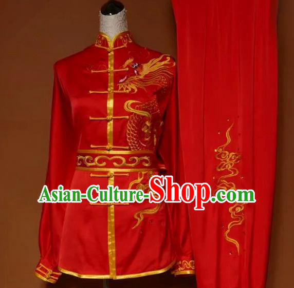 Asian Chinese Top Grade Linen Kung Fu Costume Martial Arts Tai Chi Training Suit, China Gongfu Shaolin Wushu Embroidery Dragon Red Uniform for Men
