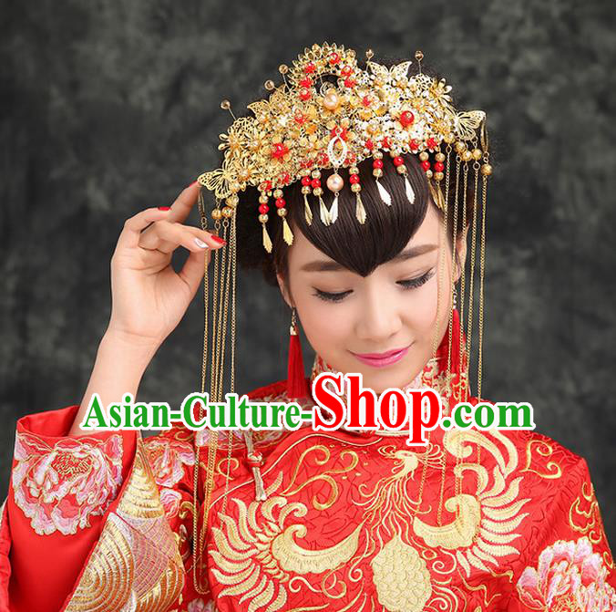 Traditional Handmade Chinese Ancient Classical Hair Accessories, Step Shake Phoenix Coronet, Bride Hair Fascinators Hairpins for Women