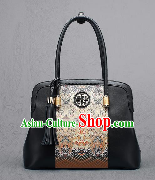 Traditional Handmade Asian Chinese Element Clutch Bags Shoulder Bag National Black Printing Handbag for Women