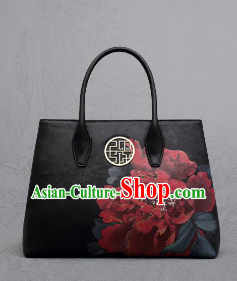 Traditional Handmade Asian Chinese Element Clutch Bags Shoulder Bag National Printing Peony Black Handbag for Women