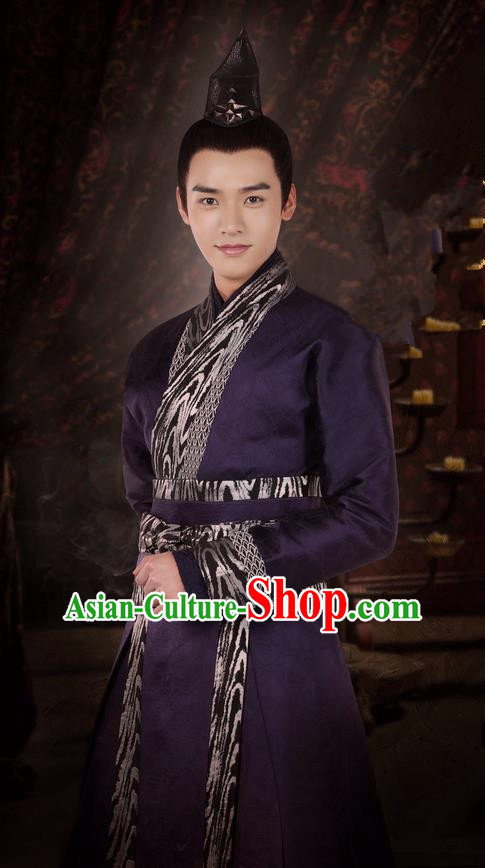 Asian Chinese Traditional Ancient Swordsman Scholar Costume, Lost Love In Times China Northern and Southern Dynasties Nobility Childe Robe Clothing