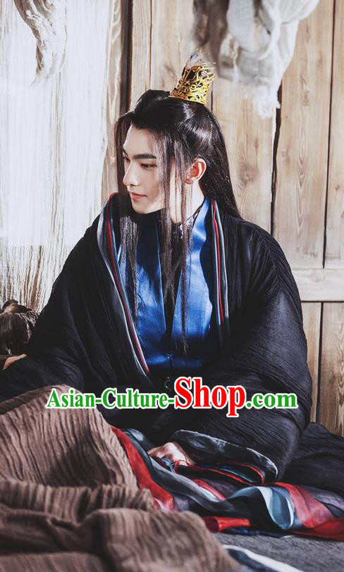 Asian Chinese Traditional Ancient Handsome Childe Costume and Headpiece Complete Set, Once Upon a Time China Swordsman Hanfu Prince Robe Clothing