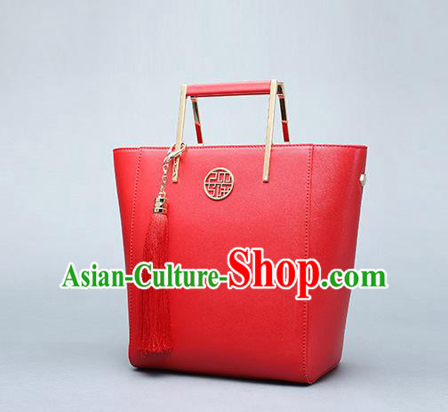 Traditional Handmade Asian Chinese Element Clutch Bags Shoulder Bag National Wedding Red Handbag for Women