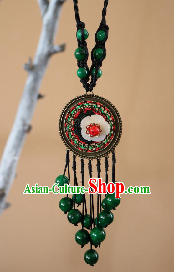 Traditional Handmade Chinese National Miao Nationality Necklace Embroidered Sweater Chain for Women