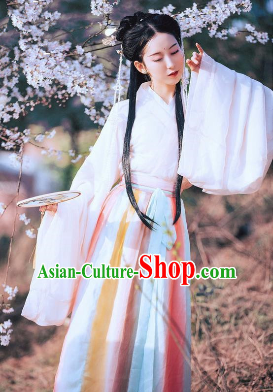 Traditional Ancient Chinese Costume Young Lady Slant Opening Ru Skirt, Elegant Hanfu Clothing Chinese Jin Dynasty Imperial Princess Wide Sleeve Dress Clothing for Women