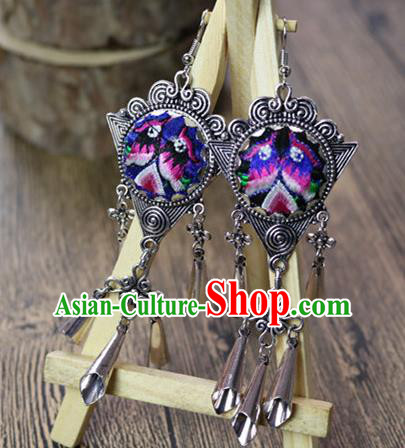 Traditional Handmade Chinese National Miao Nationality Sliver Earrings Embroidery Bells Tassel Eardrop for Women