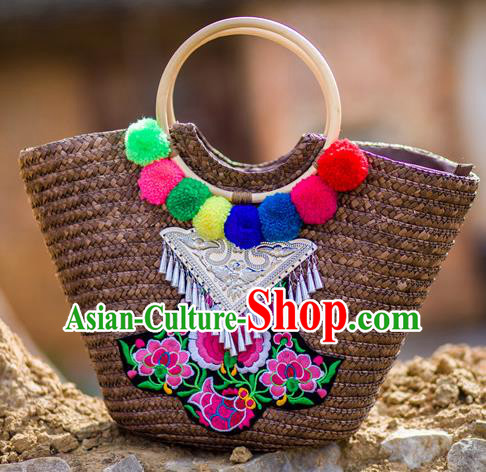 Traditional Handmade Chinese National Straw Plaited Article Bags Embroidery Miao Nationality Sliver Handbag