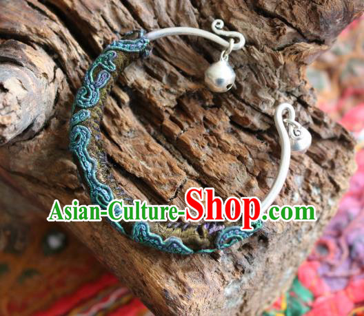 Traditional Handmade Chinese National Miao Nationality Sliver Bracelet Green Embroidery Bell Bangle for Women
