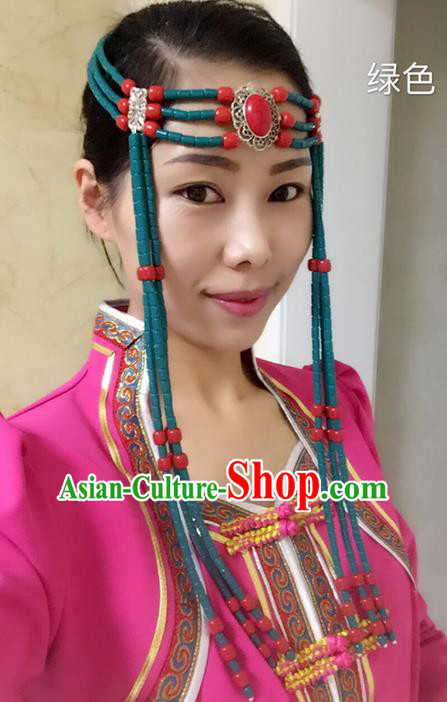 Traditional Handmade Chinese  Mongol Nationality Dance Hair Accessories Headwear, China Mongols Mongolian Minority Nationality Green Beads Tassel Headpiece for Women