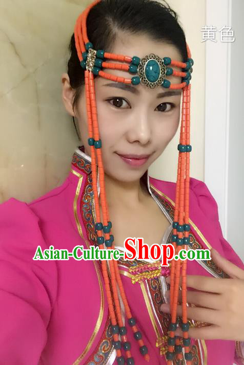 Traditional Handmade Chinese  Mongol Nationality Dance Hair Accessories Headwear, China Mongols Mongolian Minority Nationality Orange Beads Tassel Headpiece for Women