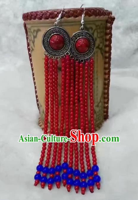 Traditional Handmade Chinese  Mongol Nationality Dance Accessories Earrings, China Mongols Mongolian Minority Nationality Princess Long Red Beads Tassel Eardrop for Women