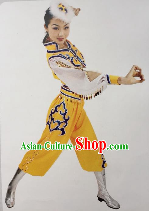 Traditional Chinese Mongol Nationality Dance Costume, China Mongolian Minority Nationality Yellow Clothing for Women