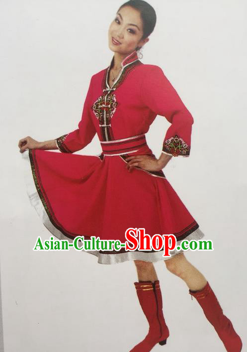 Traditional Chinese Mongol Nationality Dance Costume, China Mongolian Minority Nationality Rosy Dress Clothing for Women