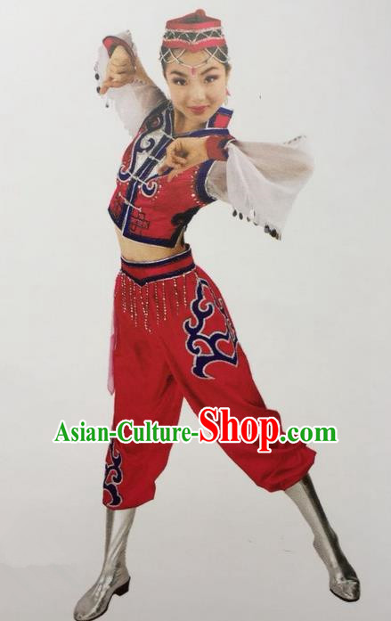 Traditional Chinese Mongol Nationality Dance Costume Red Mongolian Clothing, China Mongolian Minority Nationality Clothing for Women