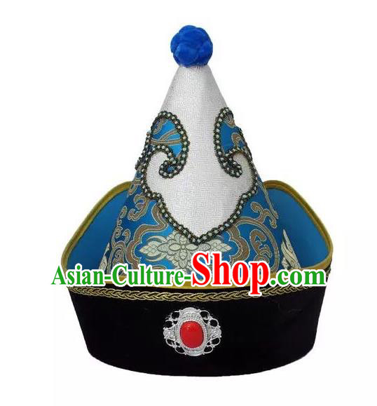 Traditional Handmade Chinese Mongol Nationality Dance Blue Headwear Prince Hat, China Mongolian Minority Nationality Royal Highness Headpiece for Men