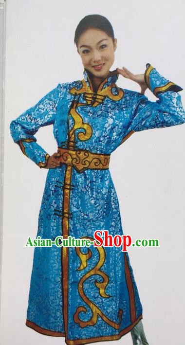 Traditional Chinese Mongol Nationality Dance Costume Blue Mongolian Robe, China Mongolian Minority Nationality Clothing for Women