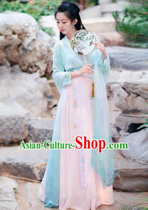 Traditional Ancient Chinese Costume Tang Dynasty Embroidery Slant Opening Blue Blouse and Skirt, Elegant Hanfu Clothing Chinese Princess Dress Clothing for Women