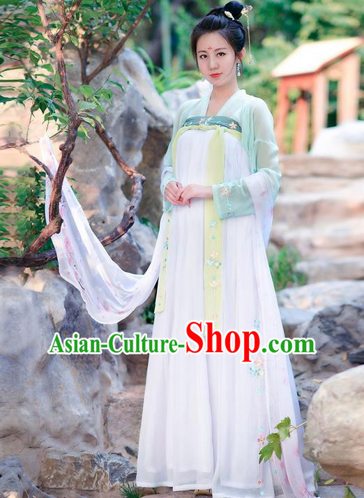 Traditional Ancient Chinese Costume Tang Dynasty Embroidery Blouse and Dress, Elegant Hanfu Clothing Chinese Princess Fairy Costume for Women