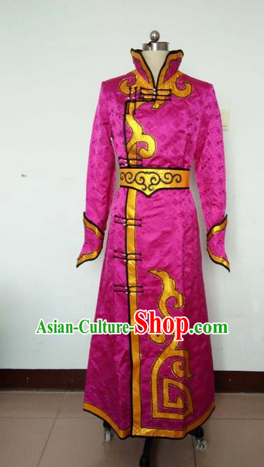 Traditional Chinese Mongol Nationality Dance Costume Rosy Mongolian Robe, China Mongolian Minority Nationality Clothing for Women