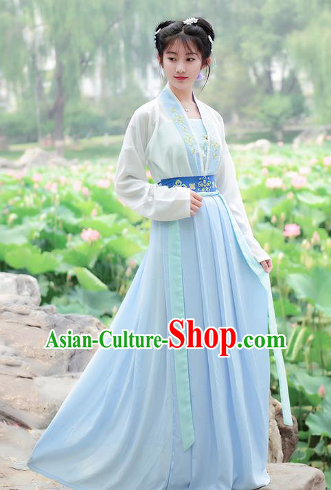 Traditional Ancient Chinese Costume Song Dynasty Embroidery Blouse and Dress, Elegant Hanfu Clothing Chinese Young Lady Costume for Women