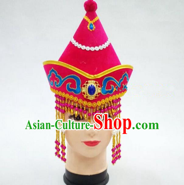 Traditional Handmade Chinese Mongol Nationality Dance Pink Headwear Princess Hat, China Mongols Children Mongolian Minority Nationality Headpiece for Kids