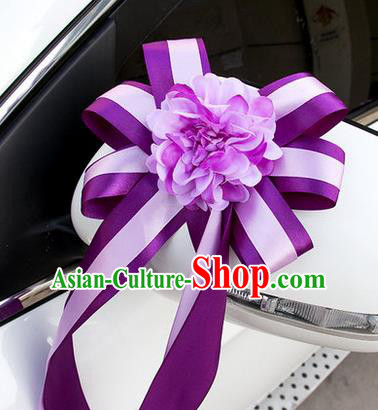 Top Grade Wedding Accessories Decoration, China Style Wedding Car Ornament Purple Flowers Bride Ribbon Garlands