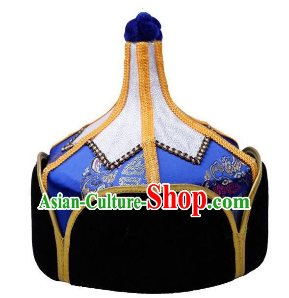 Traditional Handmade Chinese Mongol Nationality Dance Headwear Royal Highness Blue Hat, China Mongolian Minority Nationality Children Bridegroom Headpiece for Kids