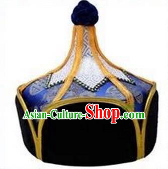 Traditional Handmade Chinese Mongol Nationality Dance Headwear Royal Highness Deep Blue Hat, China Mongolian Minority Nationality Children Bridegroom Headpiece for Kids