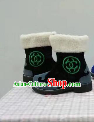 Traditional Chinese Minority Mongol Nationality Ethnic Minorities Children Mongolian Boots Black Boots for Kids