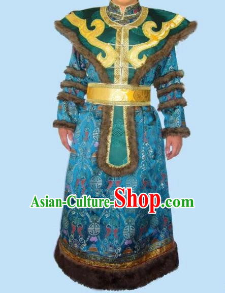 Traditional Chinese Mongol Nationality Dance Costume Handmade Peacock Blue Mongolian Robe, China Mongolian Minority Nationality Bridegroom Clothing for Men
