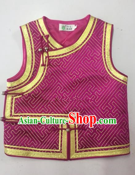 Traditional Chinese Mongol Nationality Dance Costume Handmade Mongolian Vest, China Mongolian Minority Nationality Waistcoat for Kids