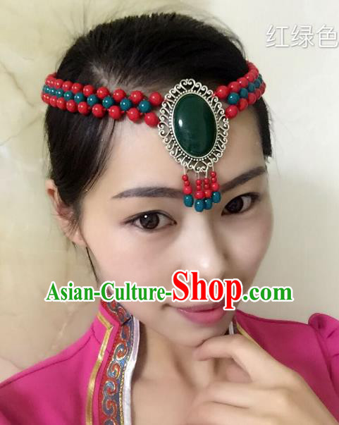 Traditional Handmade Chinese Mongol Nationality Handmade Green and Red Beads Headband, China Mongols Mongolian Minority Nationality Wedding Bride Tassel Headwear Headpiece for Women