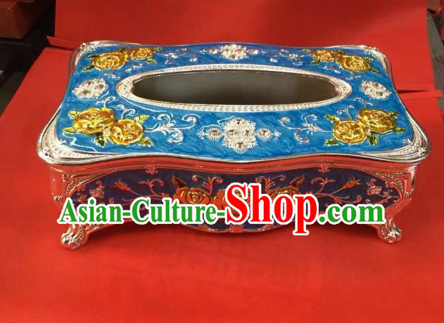 Traditional Handmade Chinese Mongol Nationality Crafts Blue Tissue Box, China Mongolian Minority Nationality Cloisonne Paper Holder