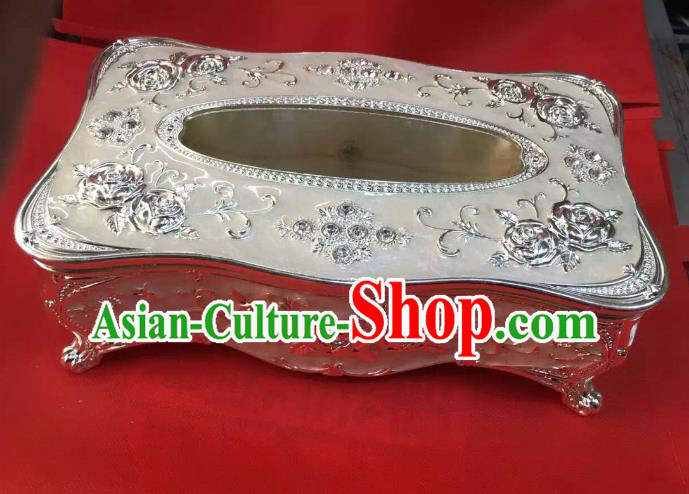 Traditional Handmade Chinese Mongol Nationality Crafts White Tissue Box, China Mongolian Minority Nationality Cloisonne Paper Holder