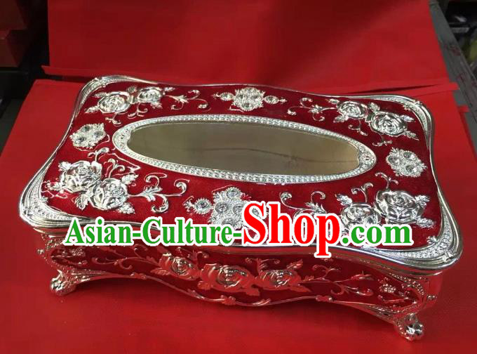 Traditional Handmade Chinese Mongol Nationality Crafts Red Tissue Box, China Mongolian Minority Nationality Cloisonne Paper Holder