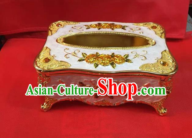 Traditional Handmade Chinese Mongol Nationality Crafts Golden Tissue Box, China Mongolian Minority Nationality Cloisonne Paper Holder