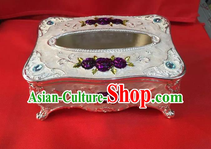 Traditional Handmade Chinese Mongol Nationality Crafts Tissue Box, China Mongolian Minority Nationality Cloisonne White Paper Holder
