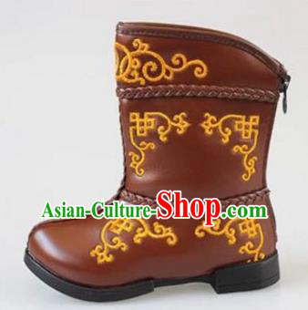 Traditional Chinese Minority Mongol Nationality Dance Shoes, Ethnic Minorities Mongolian Boots Brown Embroidery Boots for Kids