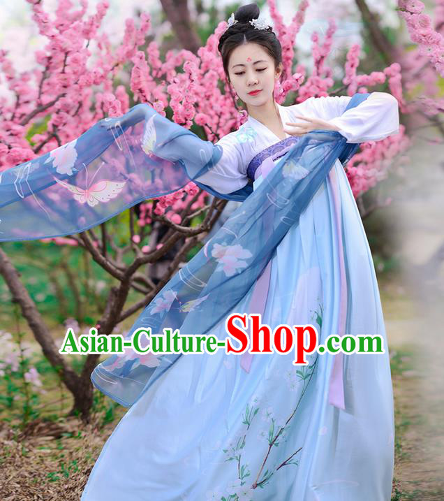Traditional Ancient Chinese Costume Tang Dynasty Young Lady Embroidery Slip Dress, Elegant Hanfu Clothing Chinese Palace Princess Costume for Women