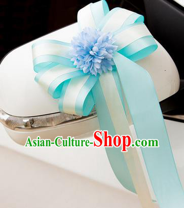 Top Grade Wedding Accessories Decoration, China Style Wedding Car Ornament Blue Flowers Bride Silk Ribbon Garlands