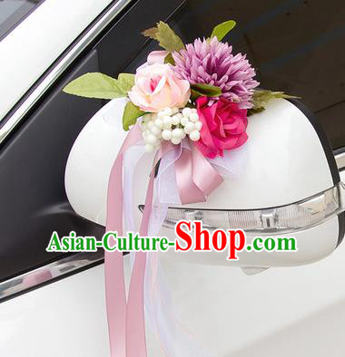 Top Grade Wedding Accessories Decoration, China Style Wedding Car Ornament Flowers Bride Pink Silk Ribbon Garlands