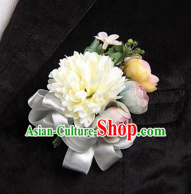 Top Grade Classical Wedding White Ribbon Silk Flowers,Groom Emulational Corsage Groomsman Brooch Flowers for Men