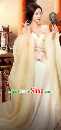 Traditional Ancient Chinese Imperial Consort Dance Costume and Headpiece Complete Set, Chinese Ming Dynasty Imperial Concubine Hanfu Dress Clothing for Women