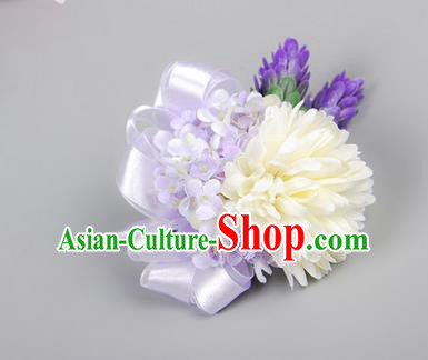 Top Grade Classical Wedding Light Purple Ribbon Flowers, Bride Emulational Corsage Bridesmaid Brooch Flowers for Women